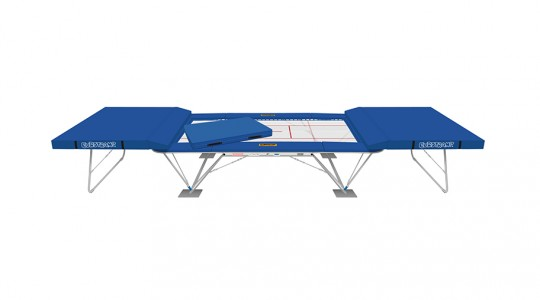 Competition trampoline Ultimate with two safety platforms, spotting mat and floor protection