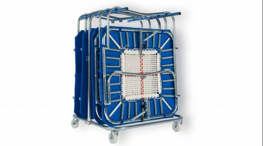 Picture of a Minitramp transport trolley with 4 minitramps.