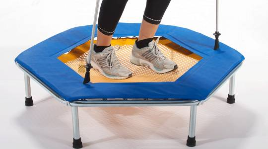 "Two feet on the Eurotramp fitness trampoline ""Trimm Tramp"""