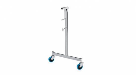 Roller stand for large Eurotramp trampolines with blue wheels