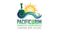 Event logo of Pacific Rim Gymnastics Championships 2020 in Tauranga, New Zealand.