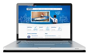 Bild von einem Laptop mit der Trampoline Education Website auf dem Bildschirm