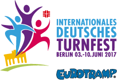 Colorful graphic with the International German Gymnastics Festival 2017 brand sign and several pictures of Minitramps, Boosterboards, Teamgyms and a large trampoline.
